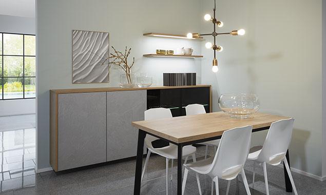 mesa sillas lampara luz cocina nordica